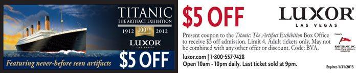 Save $5 per adult admission at Titanic Exhibition Las Vegas with this printable coupon.