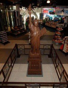 A giant chocolate Lady Liberty at Hersheys Chocolate World.