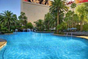 Enjoy the sun at the pool at the Mirage.